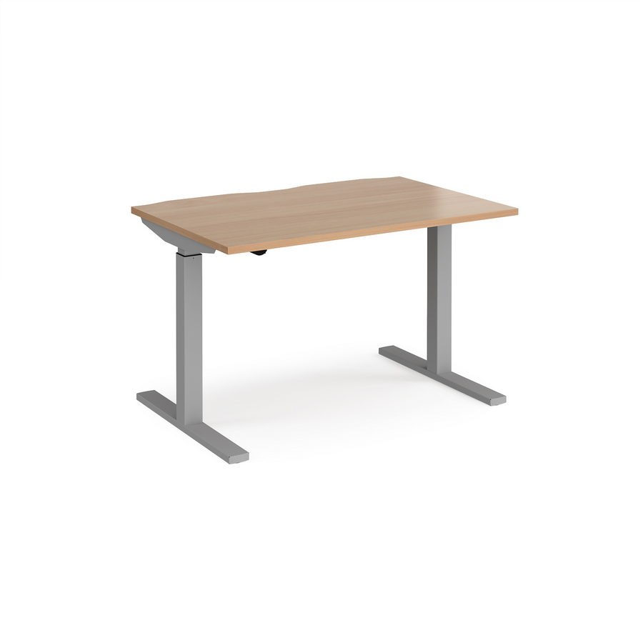 Picture of Elev8 Mono straight sit-stand desk 1200mm x 800mm - silver frame, beech top