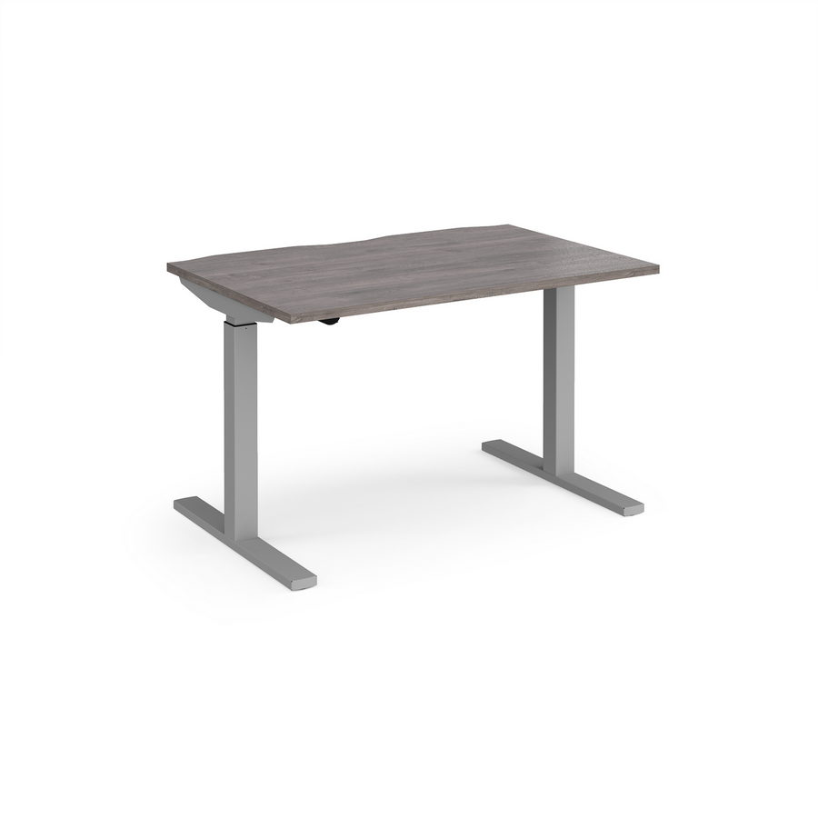 Picture of Elev8 Mono straight sit-stand desk 1200mm x 800mm - silver frame, grey oak top