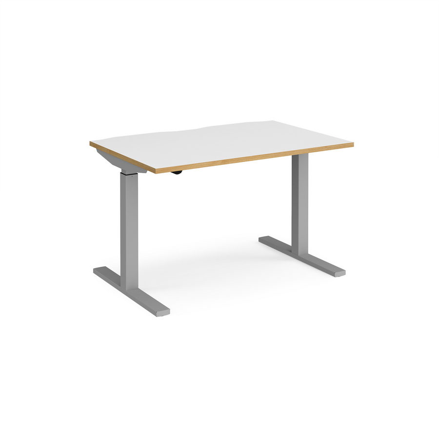 Picture of Elev8 Mono straight sit-stand desk 1200mm x 800mm - silver frame, white top with oak edge