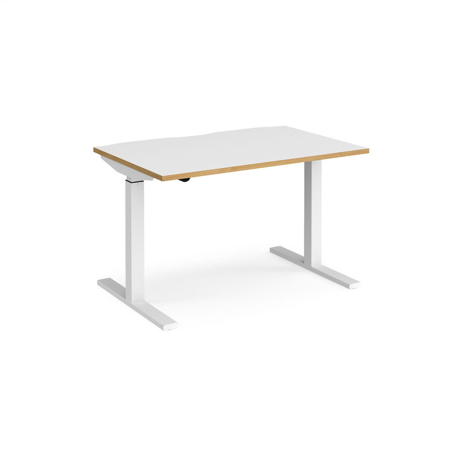 Picture of Elev8 Mono straight sit-stand desk 1200mm x 800mm - white frame, white top with oak edge