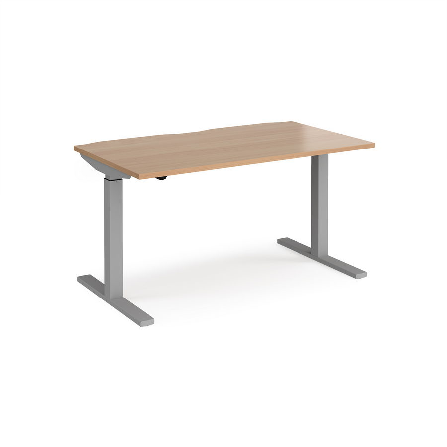 Picture of Elev8 Mono straight sit-stand desk 1400mm x 800mm - silver frame, beech top