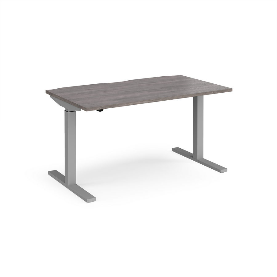 Picture of Elev8 Mono straight sit-stand desk 1400mm x 800mm - silver frame, grey oak top
