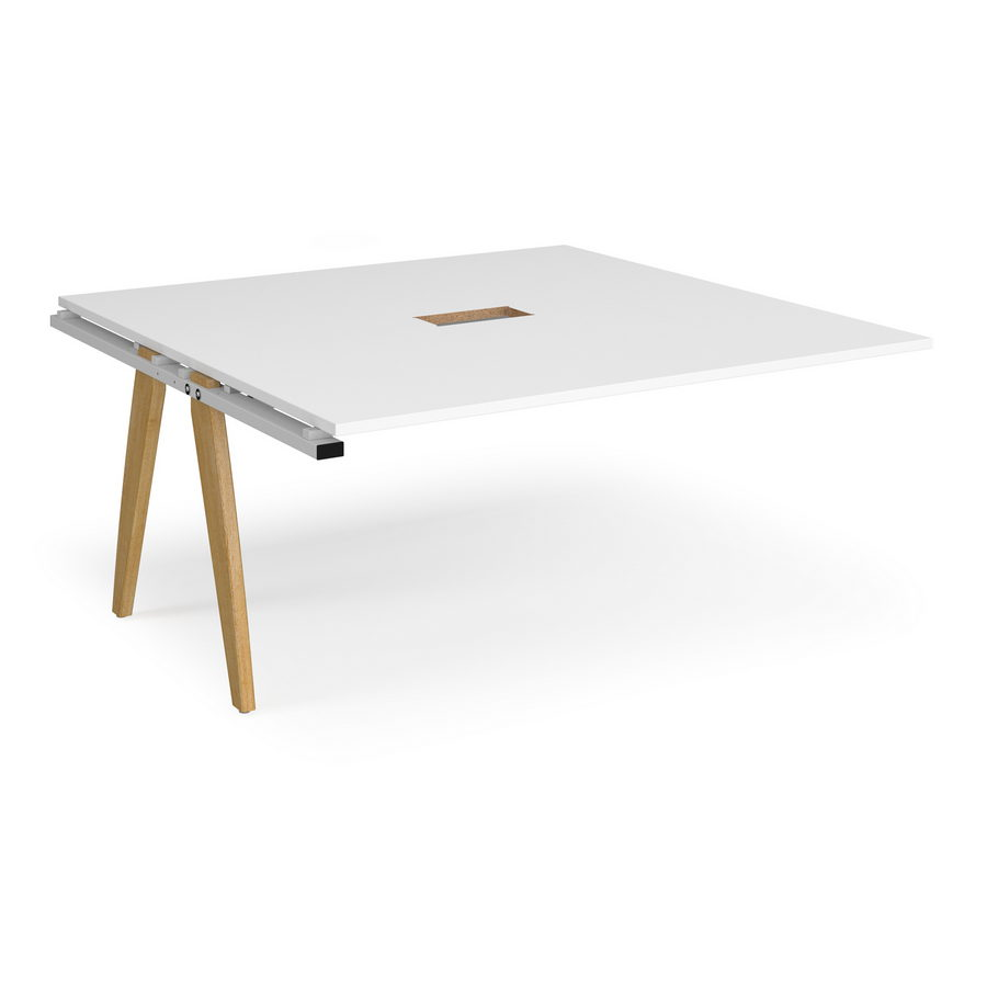 Picture of Fuze boardroom table add on unit 1600mm x 1600mm with central cutout 272mm x 132mm - white frame, white top