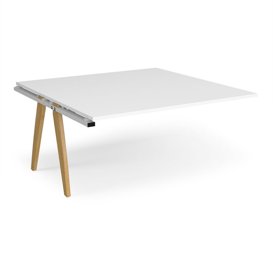Picture of Fuze boardroom table add on unit 1600mm x 1600mm - white frame, white top