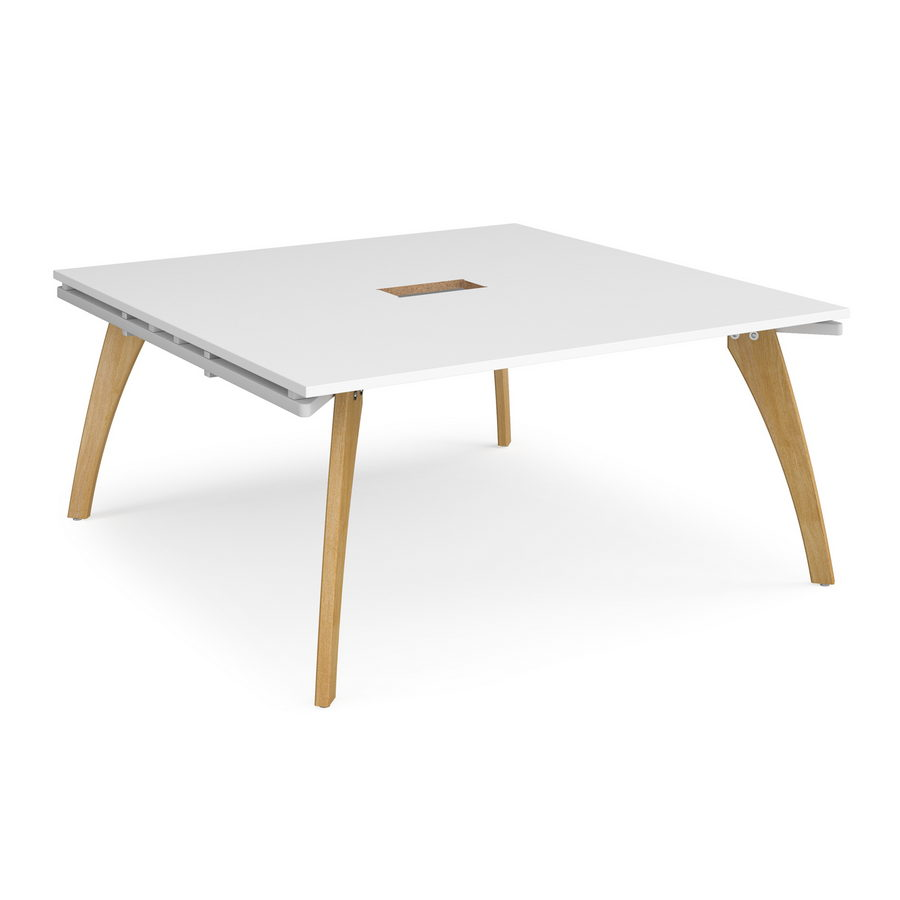 Picture of Fuze square boardroom table 1600mm x 1600mm with central cutout 272mm x 132mm - white frame, white top