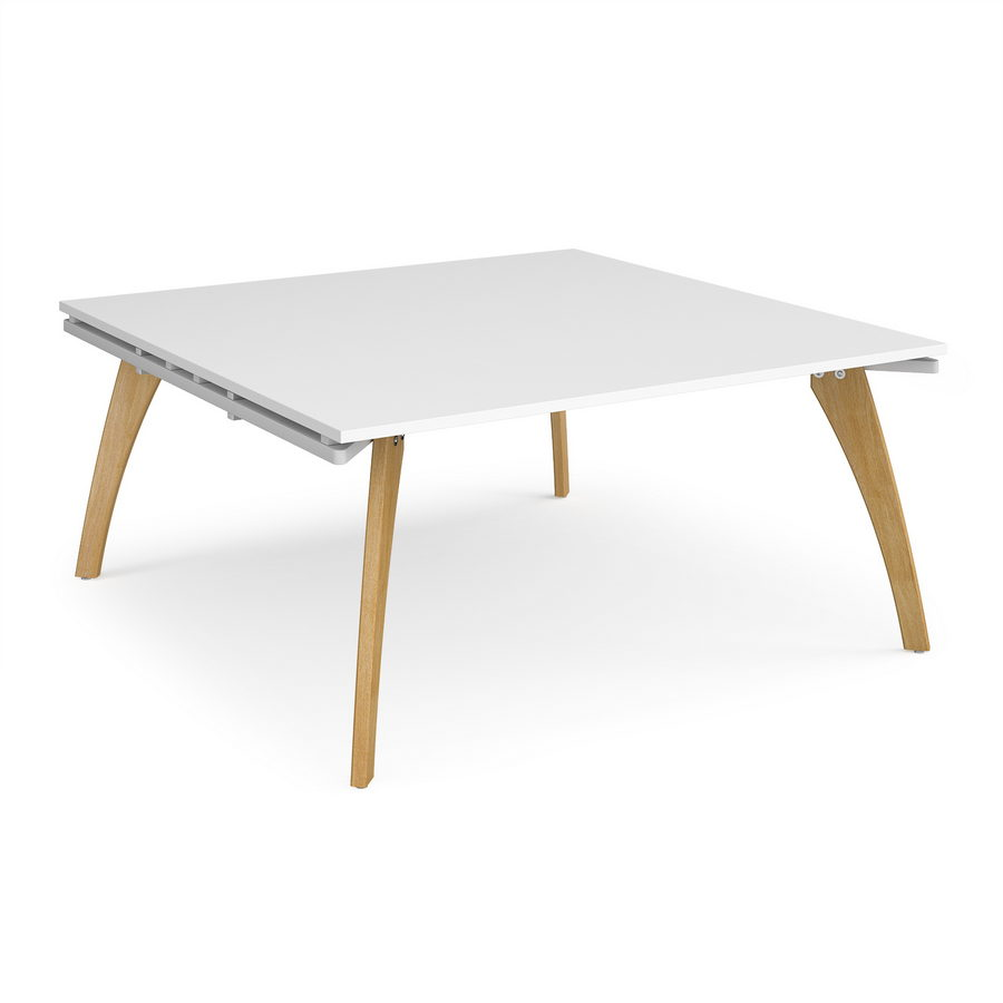 Picture of Fuze square boardroom table 1600mm x 1600mm - white frame, white top