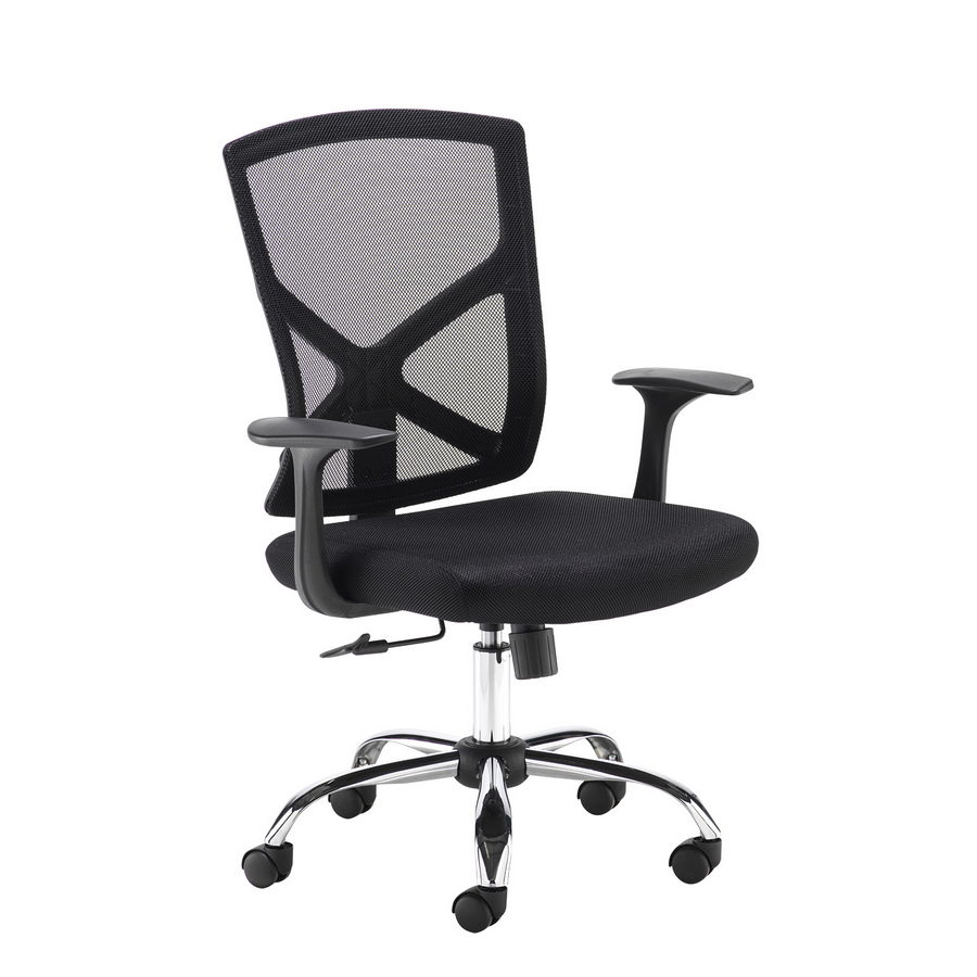 Picture of Hale black mesh back operator chair with black fabric seat and chrome base