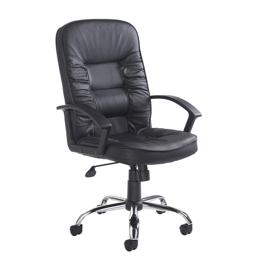 Picture of Hertford high back managers chair - black leather faced