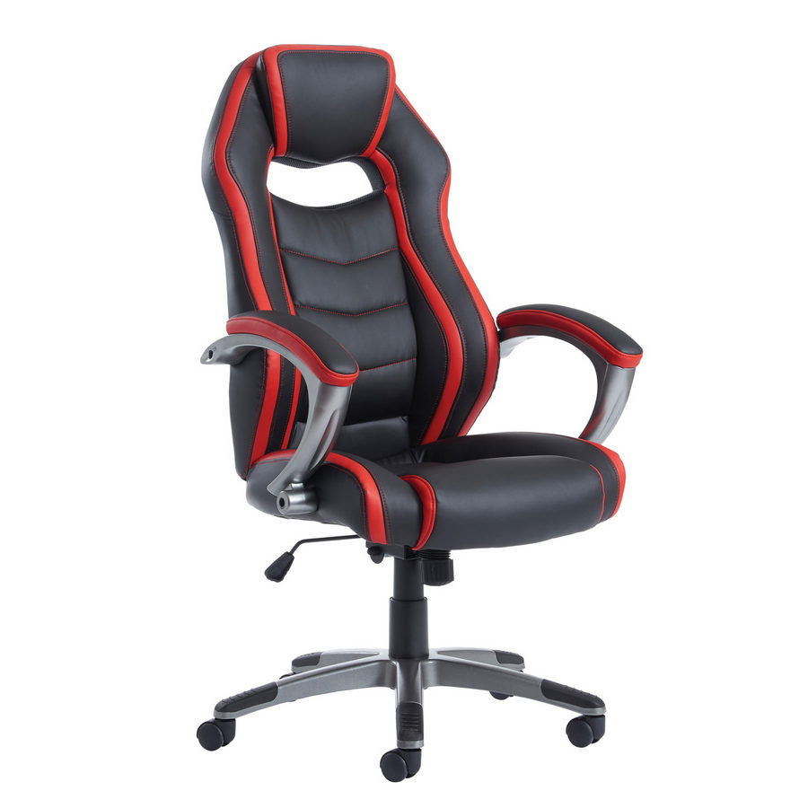 Picture of Jensen high back executive gaming chair - black and red