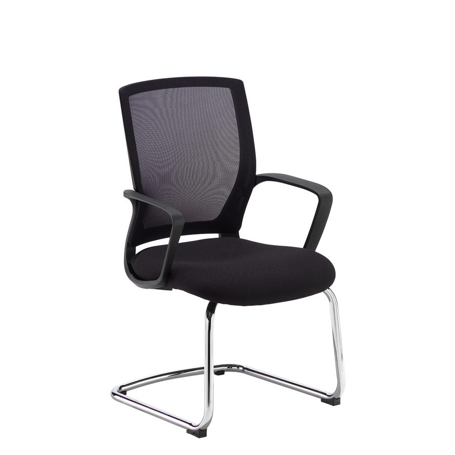 Picture of Jonas black mesh back visitors chair with black fabric seat and chrome cantilever frame