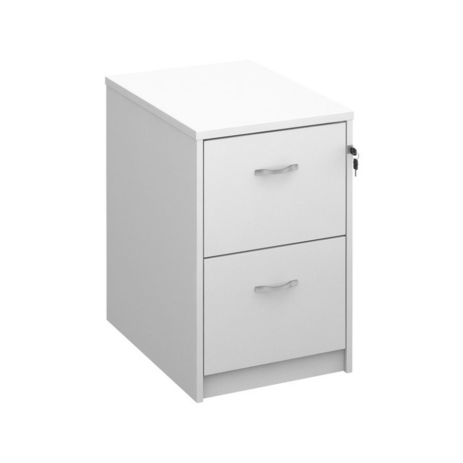 Picture of Wooden 2 drawer filing cabinet with silver handles 730mm high - white