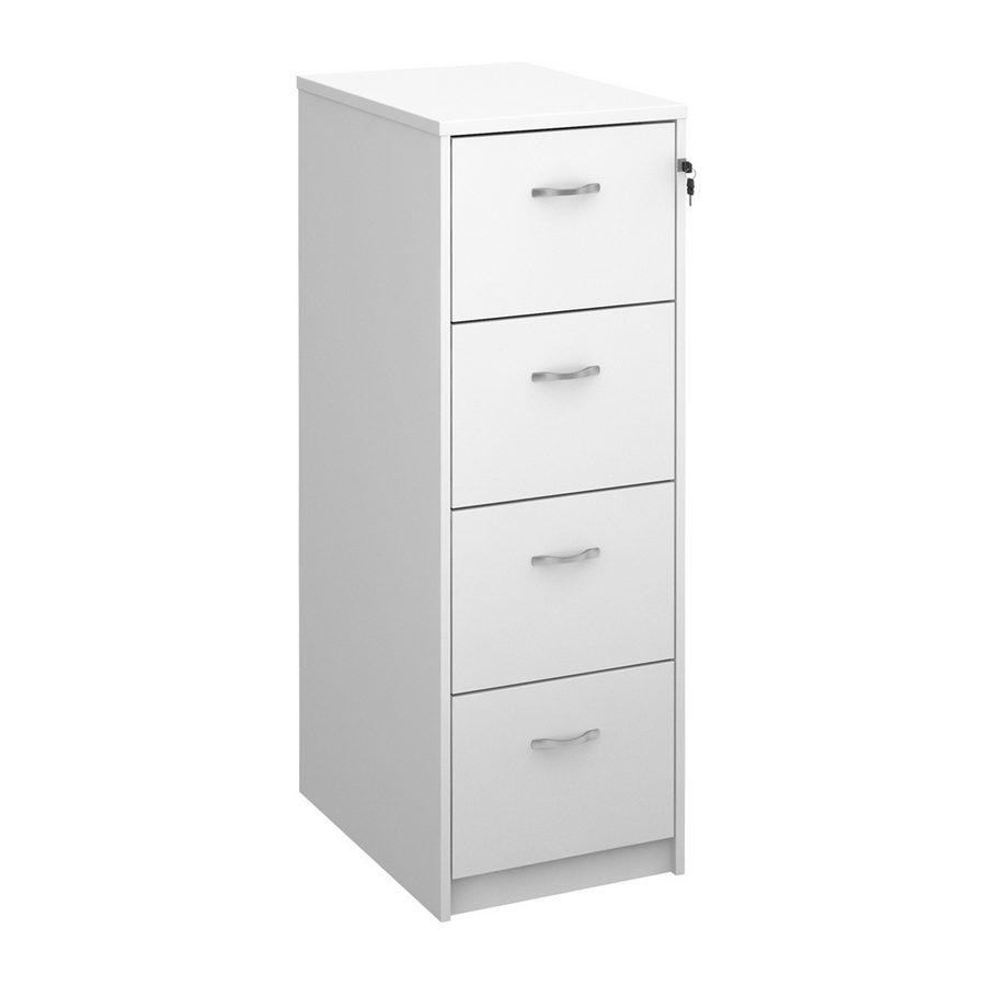 Picture of Wooden 4 drawer filing cabinet with silver handles 1360mm high - white