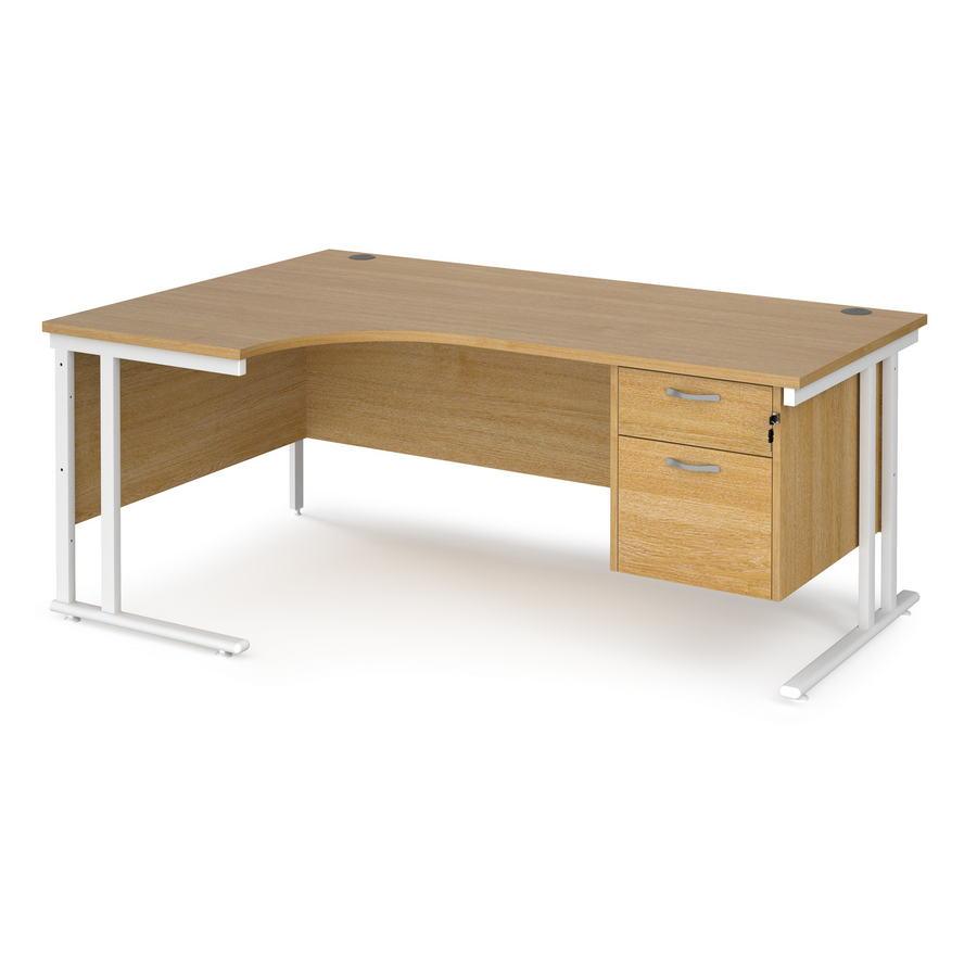 Maestro 25 Left Hand Ergonomic Desk 1800mm Wide With 2 Drawer Pedestal White Cantilever Leg Frame Oak Top Active Office Furniture Free Delivery