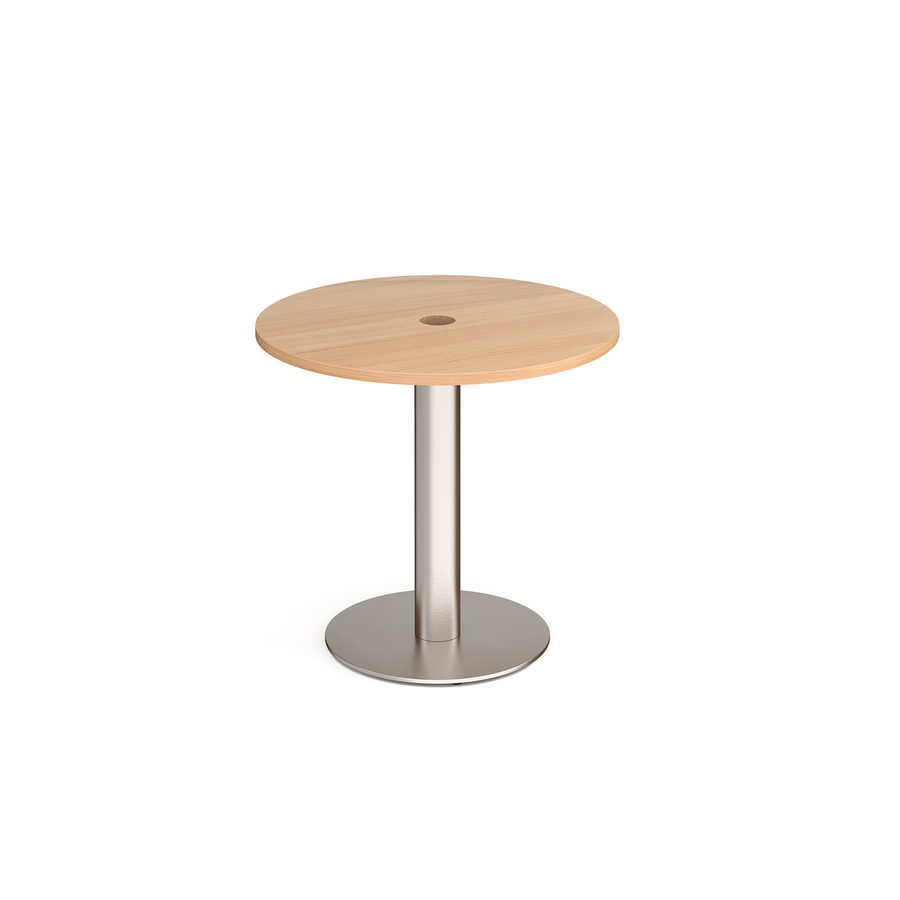 Picture of Monza circular dining table 800mm with central circular cutout 80mm - beech