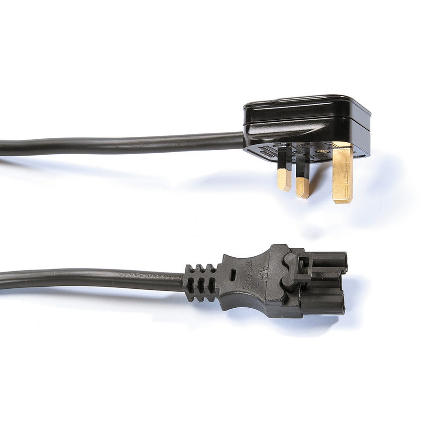 Picture of Mains lead with UK 3 pin plug to 3 pole connector - black