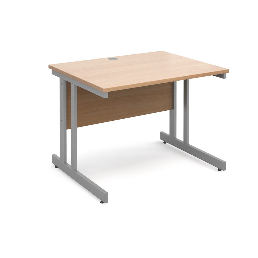 Picture of Momento straight desk 1000mm x 800mm - silver cantilever frame, beech top