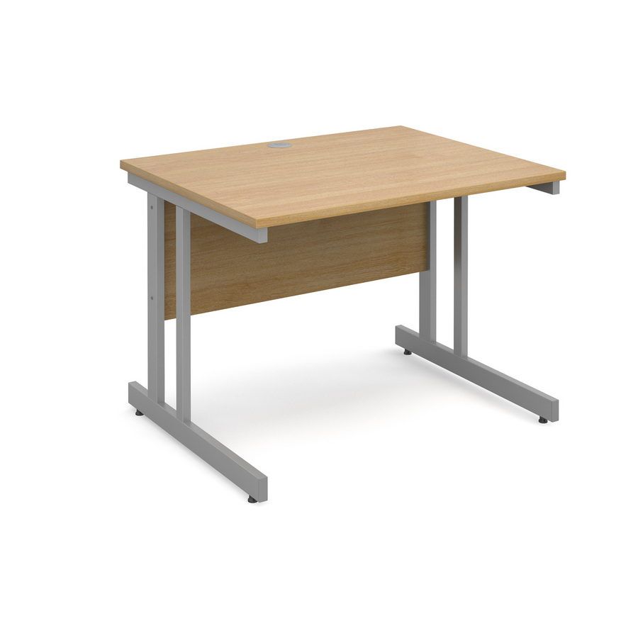 Picture of Momento straight desk 1000mm x 800mm - silver cantilever frame, oak top
