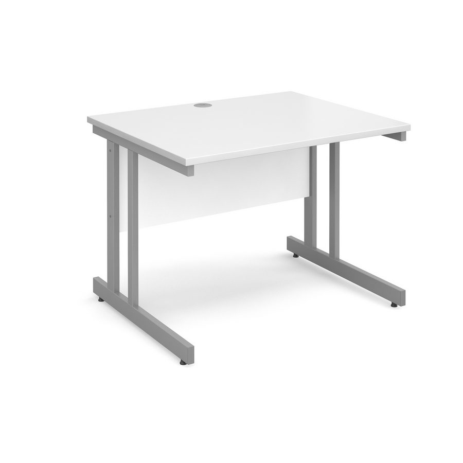 Picture of Momento straight desk 1000mm x 800mm - silver cantilever frame, white top