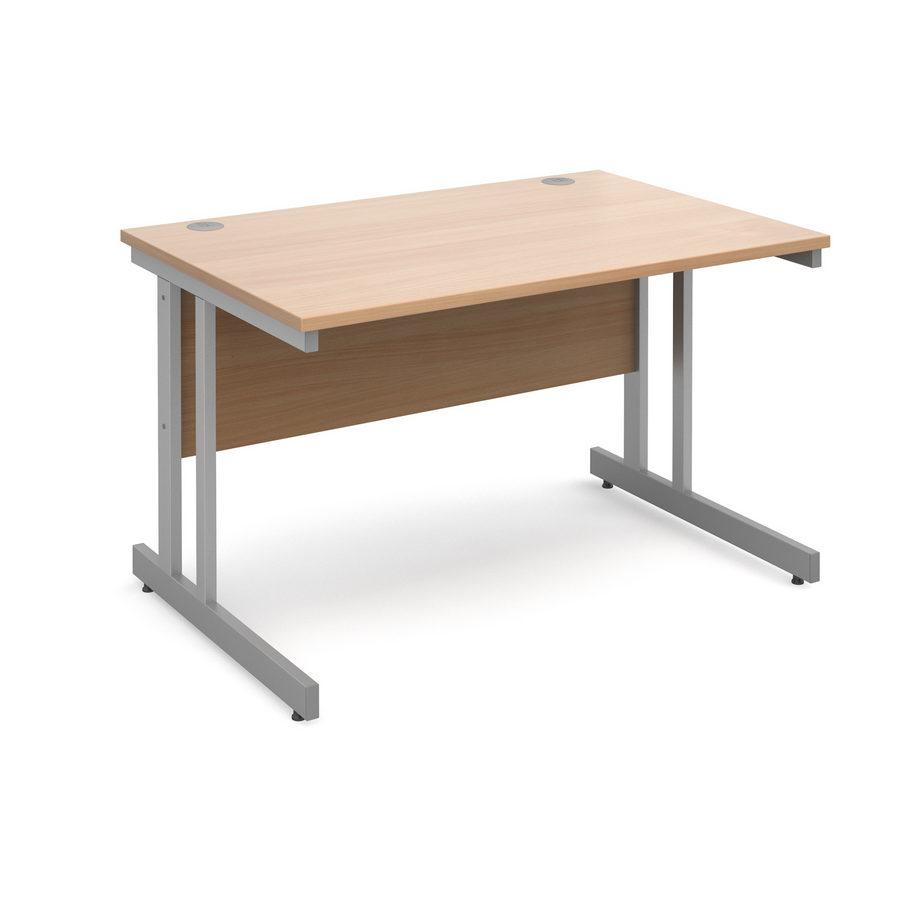 Picture of Momento straight desk 1200mm x 800mm - silver cantilever frame, beech top