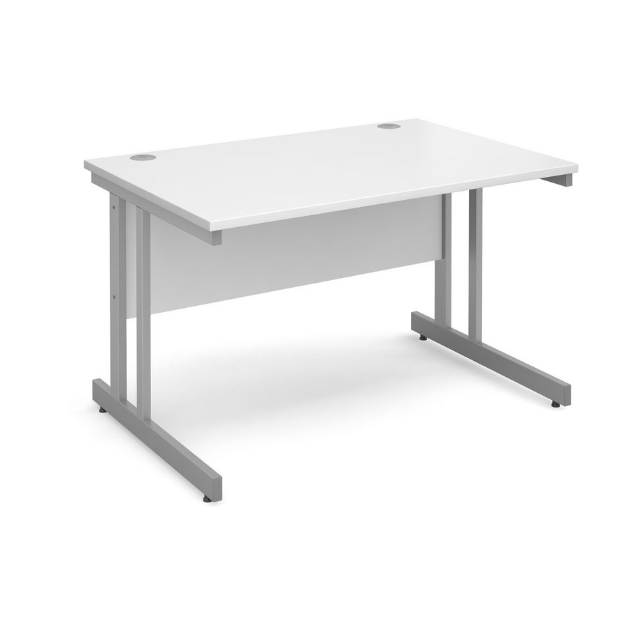 Picture of Momento straight desk 1200mm x 800mm - silver cantilever frame, white top