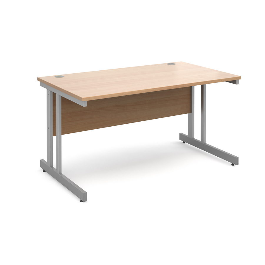 Picture of Momento straight desk 1400mm x 800mm - silver cantilever frame, beech top