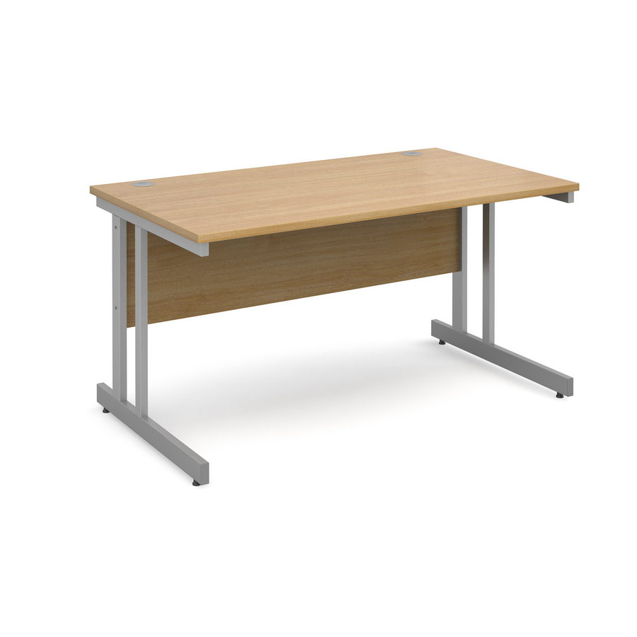 Picture of Momento straight desk 1400mm x 800mm - silver cantilever frame, oak top