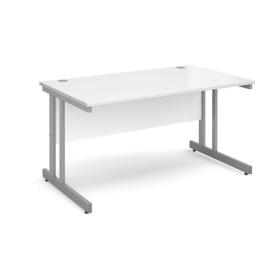 Picture of Momento straight desk 1400mm x 800mm - silver cantilever frame, white top