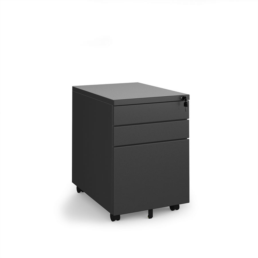 Picture of Steel 3 drawer wide mobile pedestal - black