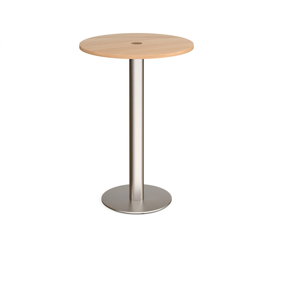 Picture of Monza circular poseur table 800mm with central circular cutout 80mm - beech