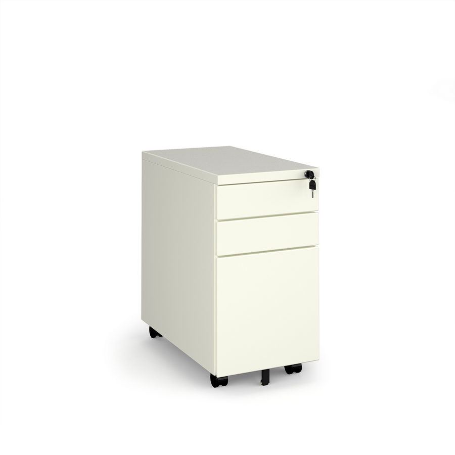 Picture of Steel 3 drawer narrow mobile pedestal - white
