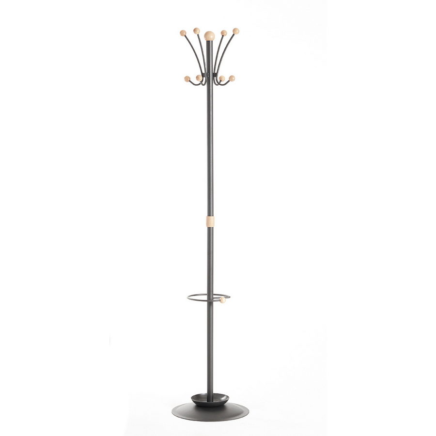 Picture of Coat & umbrella stand with 8 coat hooks and 8 umbrella hooks 1780mm high - black and cream