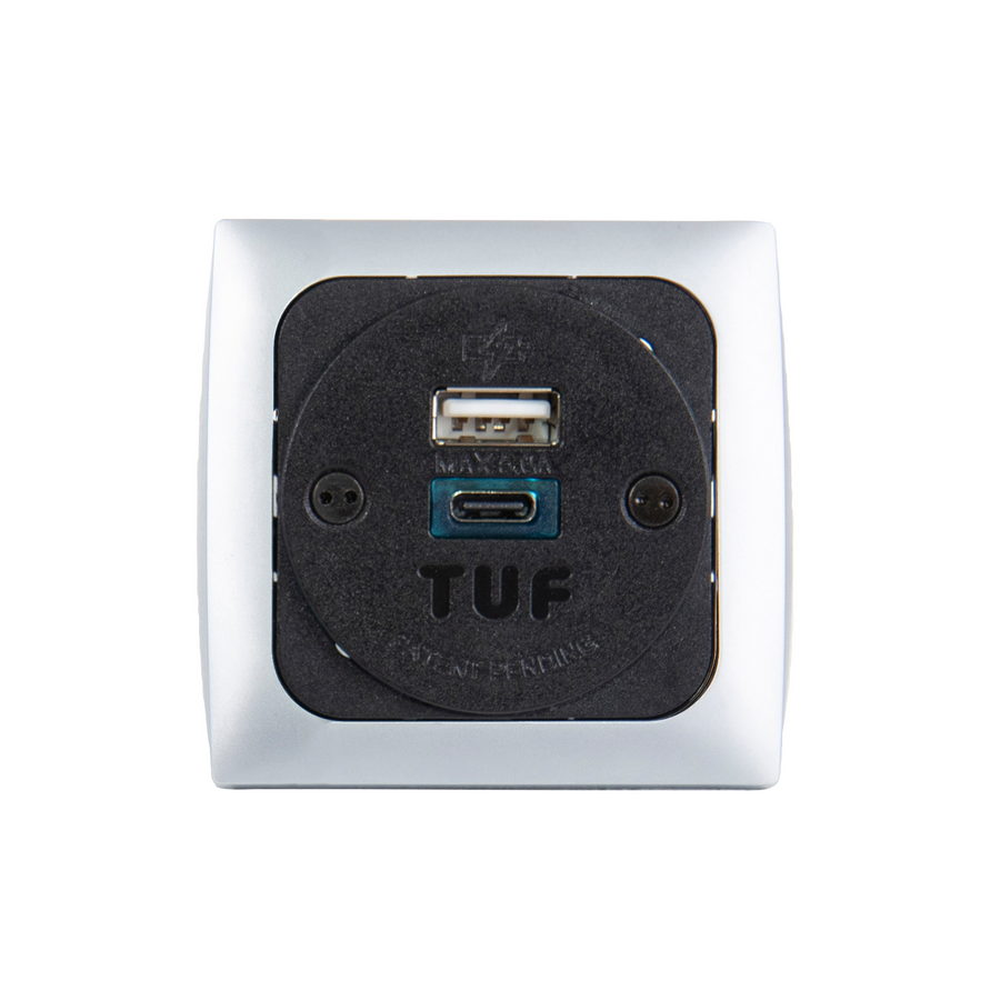 Picture of Proton panel mounted power module 1 x UK socket, 1 x TUF (A&C connectors) USB charger - silver/black
