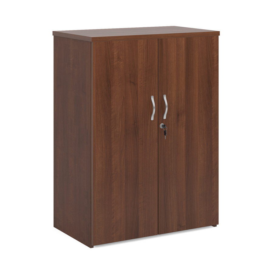 Picture of Universal double door cupboard 1090mm high with 2 shelves - walnut