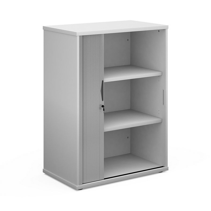 Picture of Universal single door tambour cupboard 1090mm high with 2 shelves - white with silver door