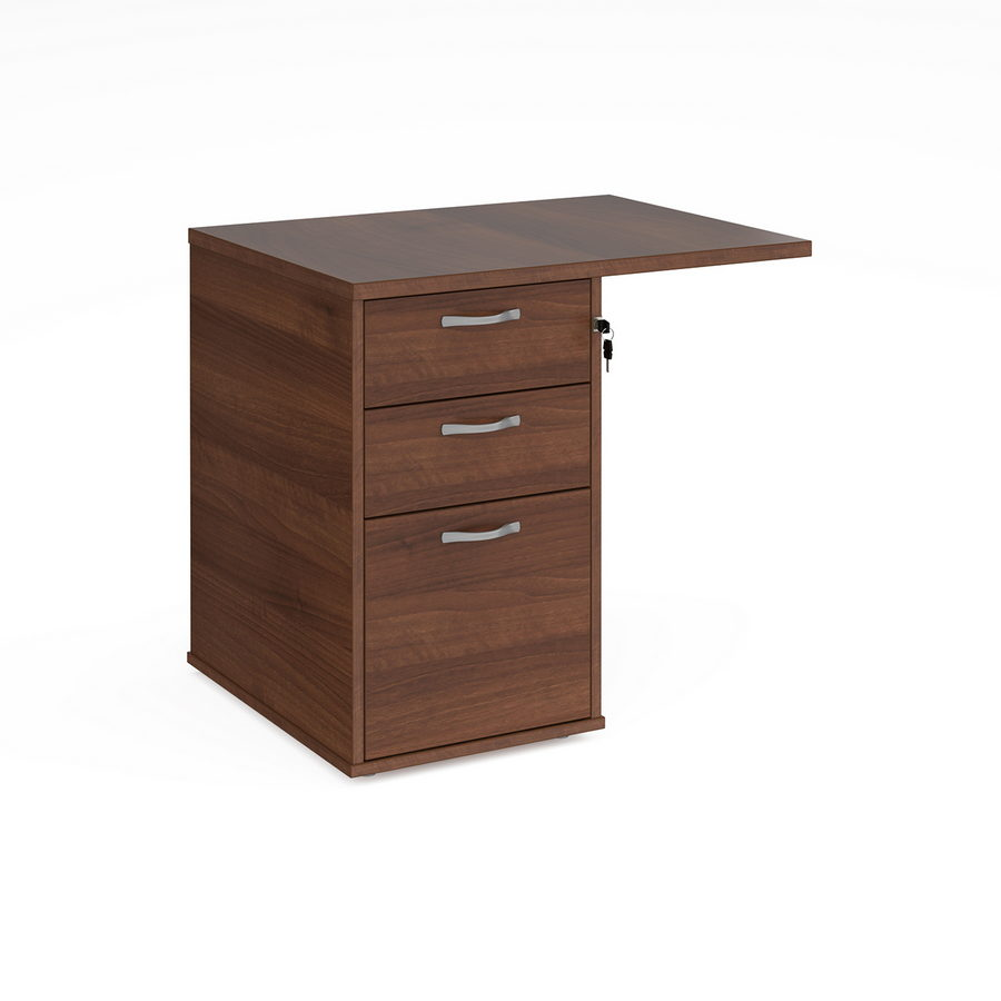 Picture of Desk high 3 drawer pedestal 600mm deep with 800mm flyover top - walnut