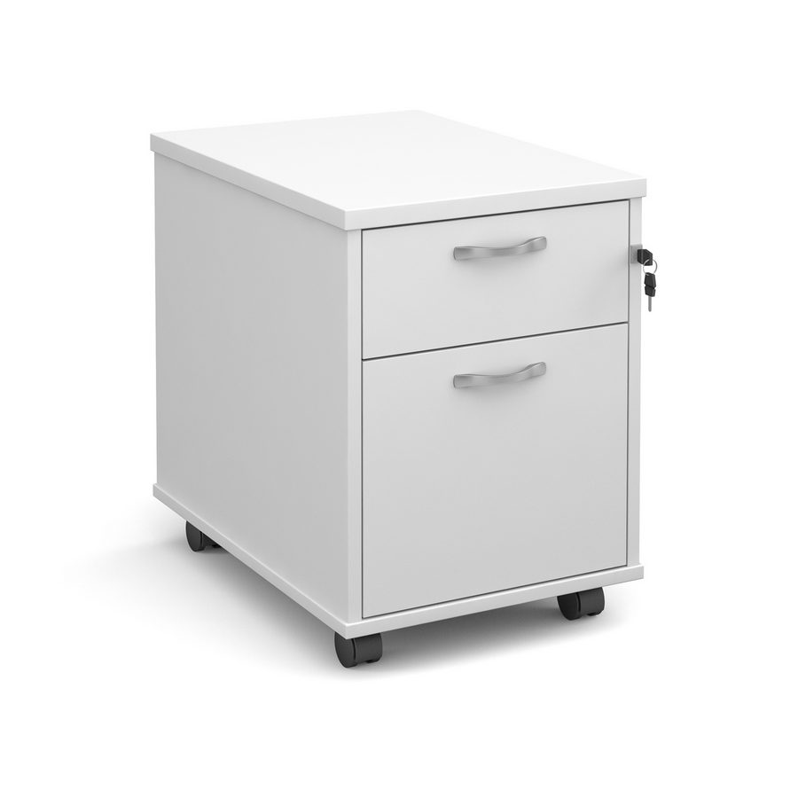 Picture of Mobile 2 drawer pedestal with silver handles 600mm deep - white