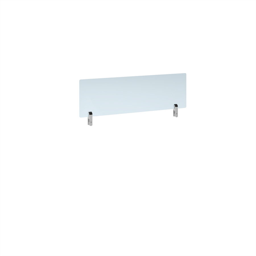 Picture of Desktop clear acrylic screen topper with white brackets 1000mm wide