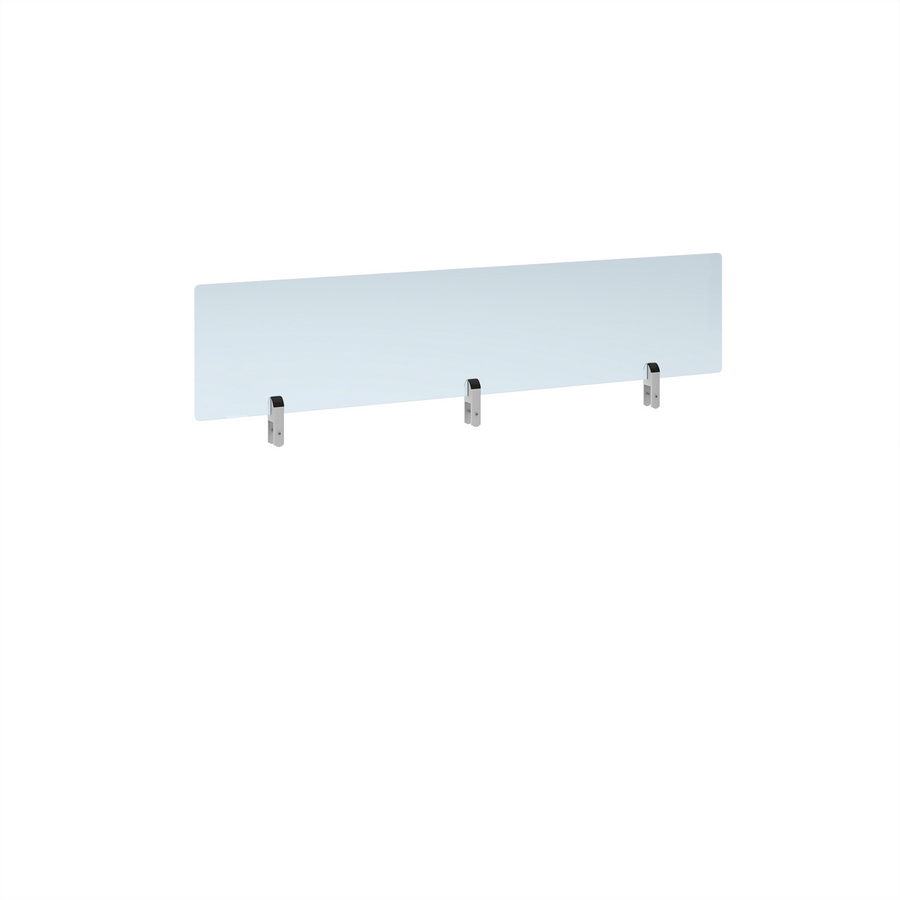 Picture of Desktop clear acrylic screen topper with white brackets 1400mm wide