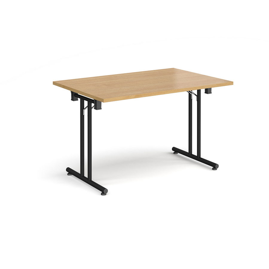 - Rectangular Folding Leg Table With Black Legs And Straight Foot
