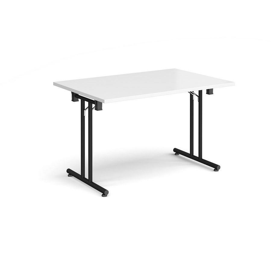 Picture of Rectangular folding leg table with black legs and straight foot rails 1200mm x 800mm - white