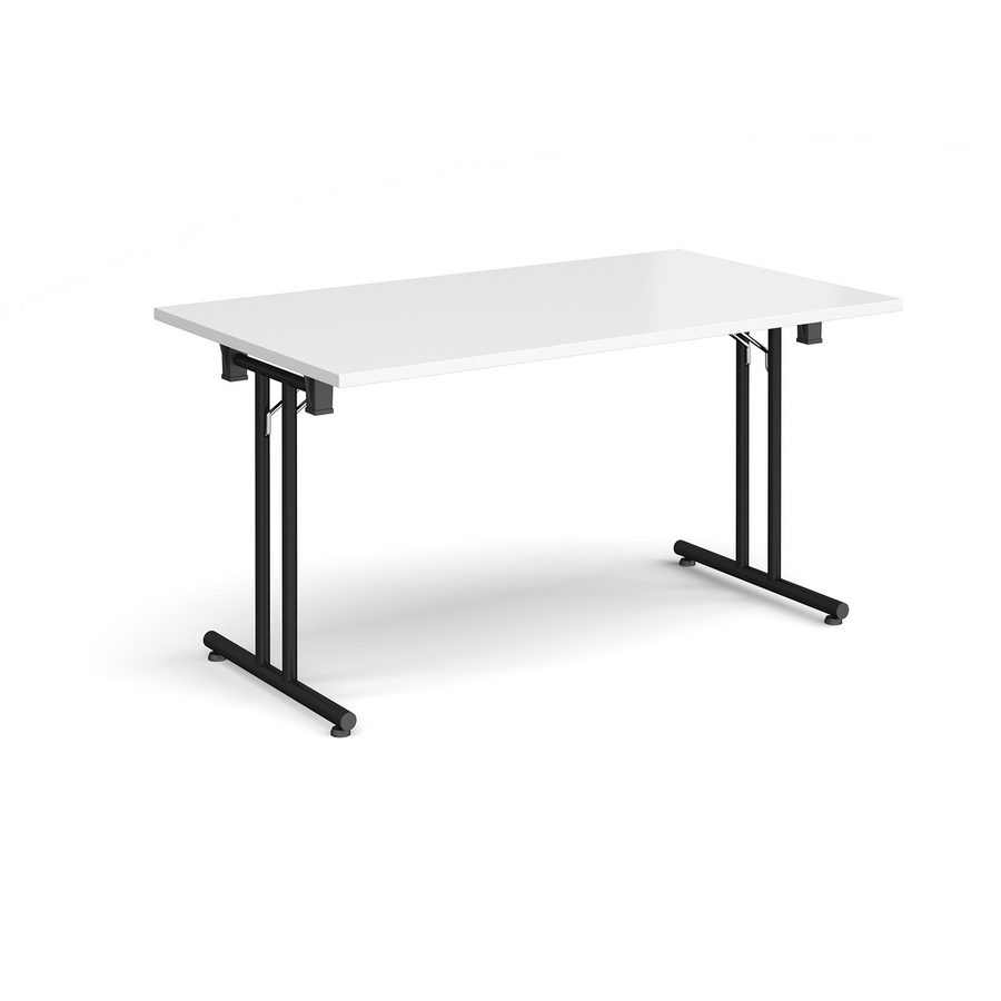 Picture of Rectangular folding leg table with black legs and straight foot rails 1400mm x 800mm - white