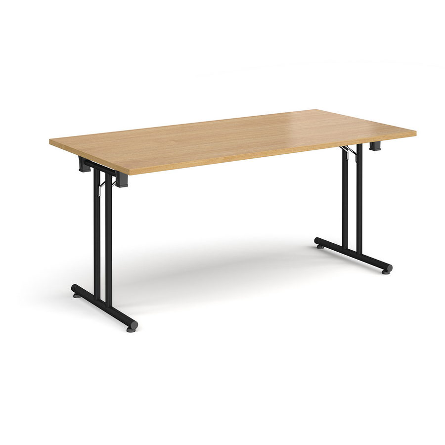 Picture of Rectangular folding leg table with black legs and straight foot rails 1600mm x 800mm - oak