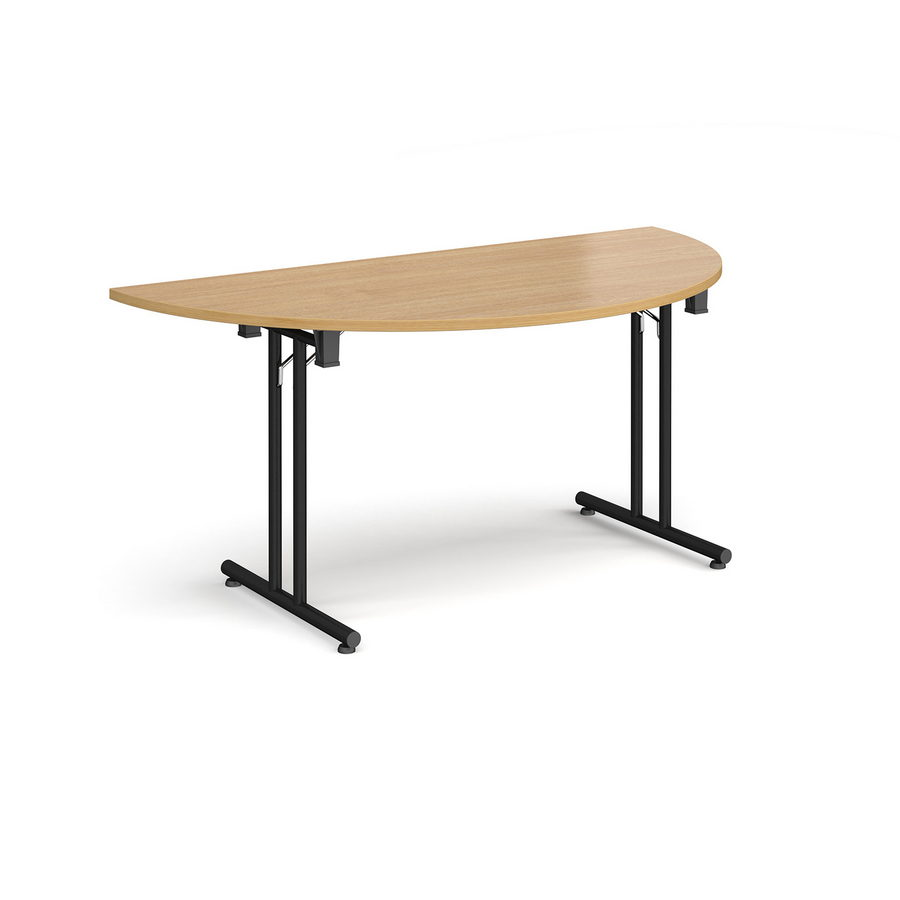 Picture of Semi circular folding leg table with black legs and straight foot rails 1600mm x 800mm - oak