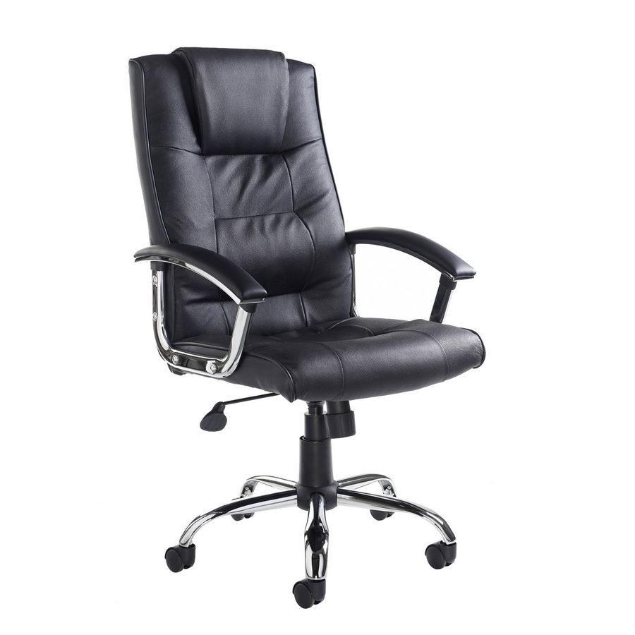 Picture of Somerset high back managers chair - black leather faced