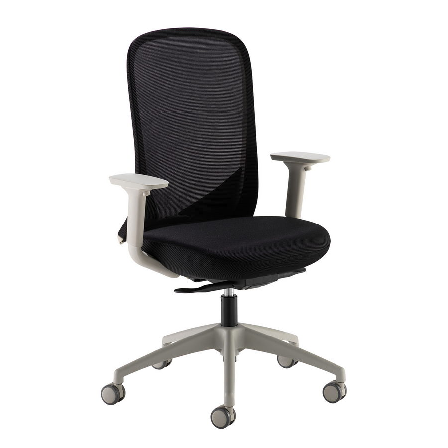 Picture of Sway black mesh back adjustable operator chair with black fabric seat, grey frame and base