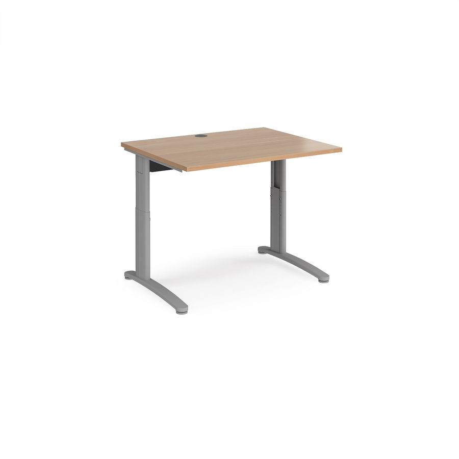 Picture of TR10 height settable straight desk 1000mm x 800mm - silver frame, beech top