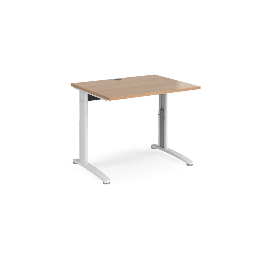 Picture of TR10 height settable straight desk 1000mm x 800mm - white frame, beech top