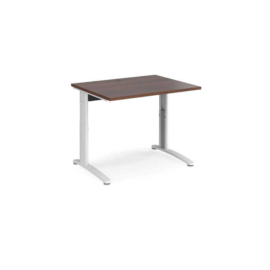 Picture of TR10 height settable straight desk 1000mm x 800mm - white frame, walnut top