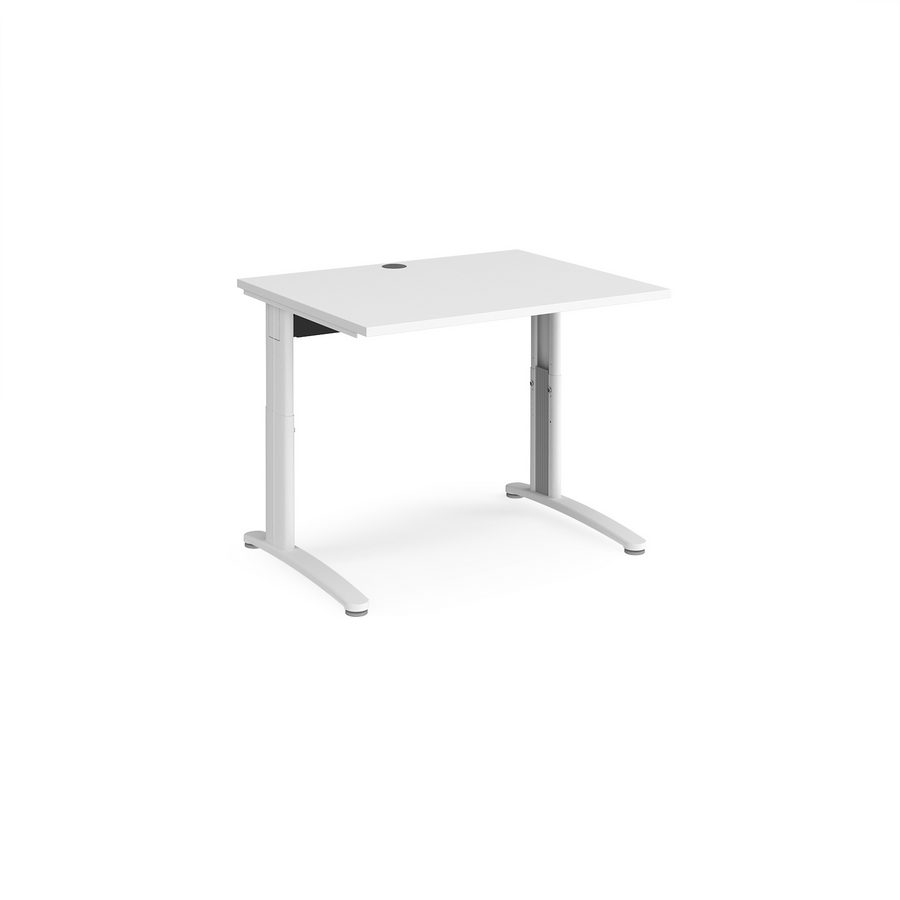 Picture of TR10 height settable straight desk 1000mm x 800mm - white frame, white top