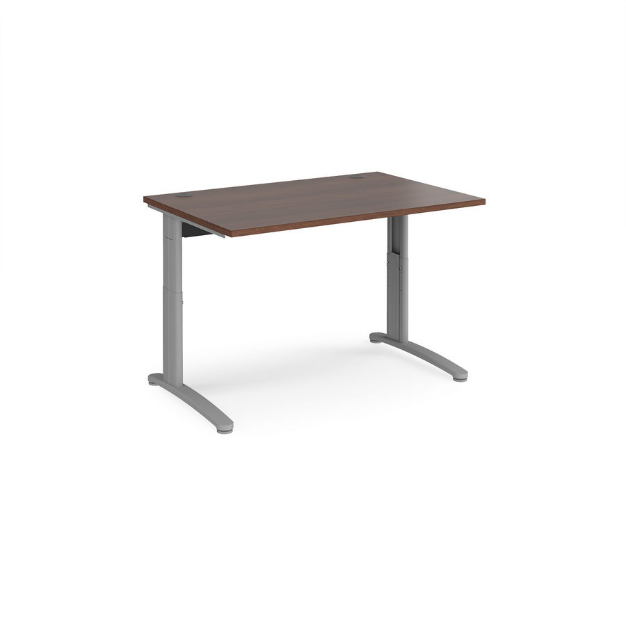 Picture of TR10 height settable straight desk 1200mm x 800mm - silver frame, walnut top